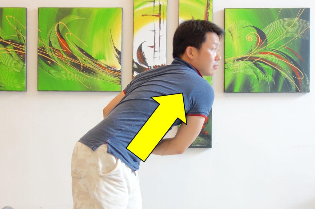 肩の後方が伸ばされる